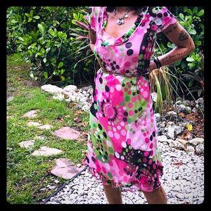 CATHERINE MALANDRINO silk polka dot dress sz 2 New